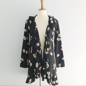 Sage Open Front Floral Top/Kimono Size Small
